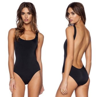 Women One Piece Bikini Monokini Swimsuit Padded BeachWear SwimwearBlack - intl