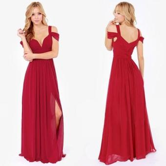 Women Party Dress Strap V-Neck Chiffon Bohemia Long Dress (Red) - intl