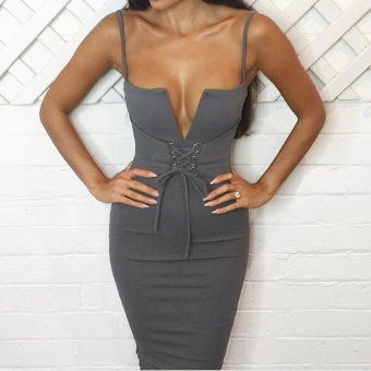 Women Pencil Dress Solid Plunging V Neck Sleeveless Bandage Lace Up Midi Backless Bodycon One-Piece Grey - intl - 2