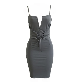 Women Pencil Dress Solid Plunging V Neck Sleeveless Bandage Lace Up Midi Backless Bodycon One-Piece Grey - intl - 4