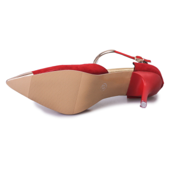 Women Pointed Toe Suede Buckle Strap Pumps Shoes (Red) - 4