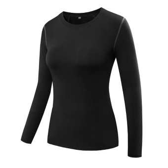 Women Pro Sports Running Fitness Compression Shirts Tight Base Layer Gym Body Shaper T Shirts Long Sleeve Tops - black - intl