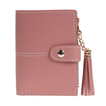 Women PU Leather Button Tassel Short Wallet Card Coin Holder Clutch Purse(Red) - intl