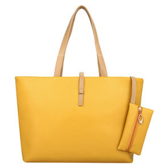 Women PU Leather Shoulder Bag Tote Bag Handbag Yellow