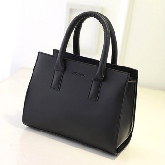 Women PU Leather Shoulder Bag Tote Satchel Black