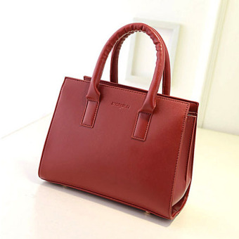 Women PU Leather Shoulder Bag Tote Satchel Red