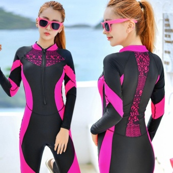 Women Rash Guards Surf Wear Swim Suit Diving Wetsuit RashguardWomen Bodysuit Long Sleeve Swimsuit (Rose) - intl