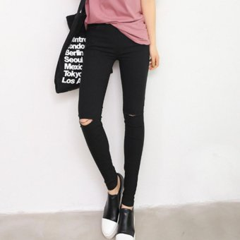 Women Ripped Jeans High Waist Elastic Pencil Pants (Black Knee-ripped) - intl