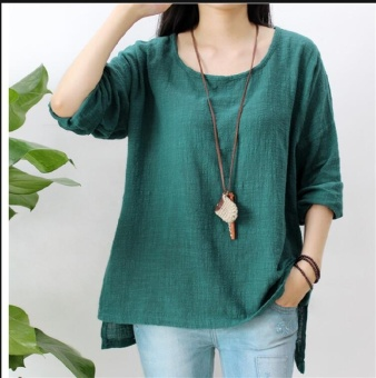 Women Round Neck Oversized T-Shirt Loose Blouse Pullover TopsJumper Plus Size - intl