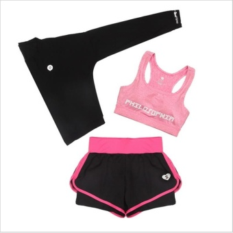 Women Running 3pcs Suit Training Top Female Fitness Gym Polyester Tracksuit Lady Blouse +shorts Yoga Sets Workout Sports Wear Clothing - intl