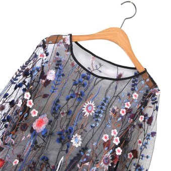 Women See Through Floral Embroidery Mesh Shirts Transparent LongSleeve Blouse Female Casual Tops(Blue) - intl - 2