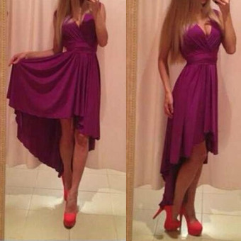 Women Sexy V Neck Chiffon Cocktail Long Asymmetrical Maxi Dress Purple XL - intl