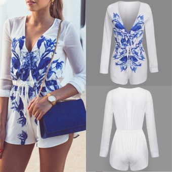 Women Sexy V Neck Long Sleeve High Waist Drawstring Floral PrintPatchwork Short Chiffon Rompers Jumpsuit - intl