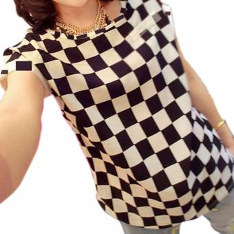 Women Shirts Chiffon Loose Blouse Short-Sleeved Tops(White Black Check) - intl