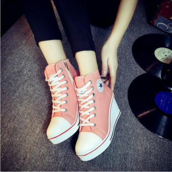 Women Shoes Wedge Heel Shoes Lace Up Canvas Sneakers 8CM(Pink)