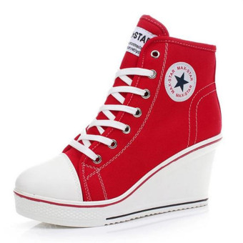 Women Shoes Wedge Heel Shoes Lace Up Canvas Sneakers 8CM(Red)