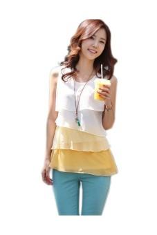 Women Sleeveless Flounce Tiered Chiffon Top Yellow - picture 2