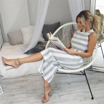 Women Sleeveless Stripe Playsuit Ladies Summer Romper Long Jumpsuit Trousers - intl