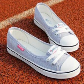 Women Slip-On Canvas Shoes Ladies Low-Cut Casual Flat Shoes (Grey)- Intl
