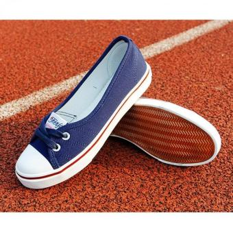 Women Slip-On Canvas Shoes Ladies Low-Cut Casual Flat Shoes (Navy)- Intl
