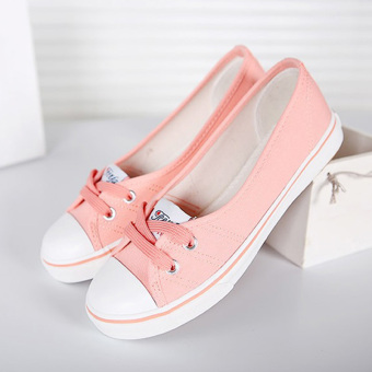 Women Slip-On Canvas Shoes Ladies Low-Cut Casual Flat Shoes (Pink)- Intl
