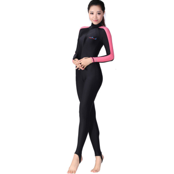 Women Snorkeling Diving Suit Full Body Wetsuit UV ProtectionJellyfish Swimsuit One Piece Wet Suit Swimwear - pink strip - intl