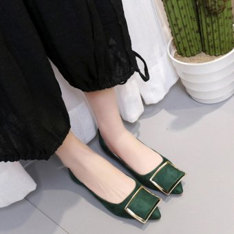 Women Solid Color Suede With Low Heeled Shoes(Green) - intl
