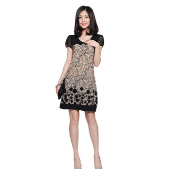 Women Splice Suit Pattern Short Sleeve Loose Dress - picture 2