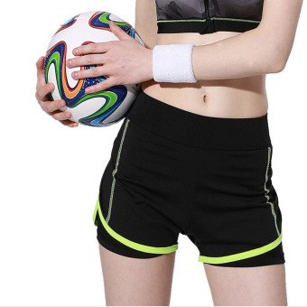 Women Sport Shorts Fitness Gym Two-Pieces Yoga Shorts Skinnybreathable Shorts For Women Running Jogging Green