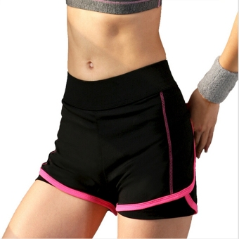 Women Sport Shorts Fitness Gym Two-Pieces Yoga Shorts Skinnybreathable Shorts For Women Running Jogging Hot pink