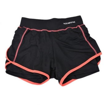 Women Sport Shorts Fitness Gym Two-Pieces Yoga Shorts Skinnybreathable Shorts For Women Running Jogging Orange