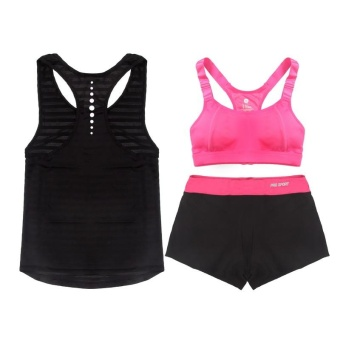Women Sport yoga gym 3Pcs suit Pad bra+long vest tank+two in one short sets Running training exercise suit - intl