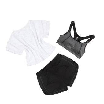Women Sports Clothes Yoga Sets Blouse + Bra + Black and Grey Leggings Fitness Running Gym Girls T-Shirt Slim Short Sportwear Suit - intl