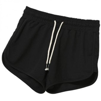 Women Sports Gym Yoga Shorts with Drawstring (Black) Price Philippines