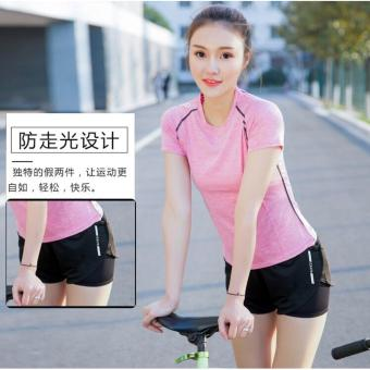 Women Sports Yoga Pink T-shirt with Shorts 2 Pcs Sets SportwearBreathable Fitness Running Jogging Gym Clothes Quick Dry Sport Suit Price Philippines