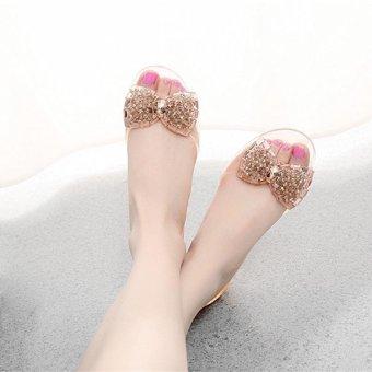 Women Summer Flat Sandals Jelly Sandals Open-toe Beach Sandals Gold - 4