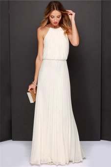 Women Summer Sexy Sleeveless Off Shoulder Halter Party Dresses Elegant Loose Chiffon Beach Maxi Dress HDS026 White