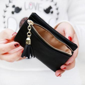 Women Tassel Wallet Clutch Leather Short Purse Black - intl - 3