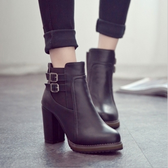 Women Thick High Heel Double Buckle Elastic Bootie Zip Martins Ankle Boots Fashion Ladies Shoes