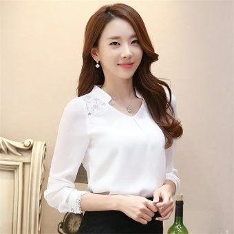 Women Tops Long Sleeve Casual Lace Chiffon Blouse Female V-Neck Work Wear Solid Color Office Shirts For Women 3XL White - intl - 3