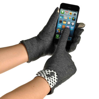 Women Touch Screen Winter Warm Wrist Gloves Mittens Gray - Intl