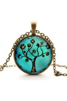 Women Vintage Art Tree Glass Cabochon Pendent Neck