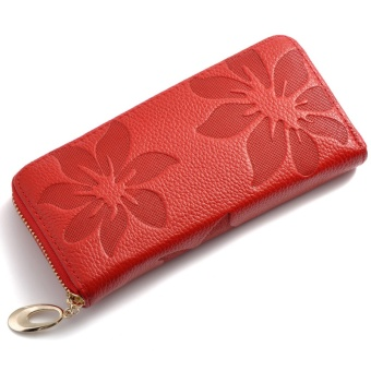Women Wallets Fashion Flower Print Genuine Leather Wallets Women Clutch Wallets Lady Vintage Clutch Bag Coin Purse for Women - intl