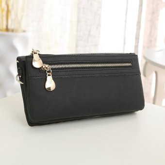 Women Wallets Long PU Zipper Long Wallet Female Clutch Coin Purse for Ladies Black - intl