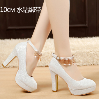 Women wedding silver high-heeled shoes crystal shoes (10 cm diamond)