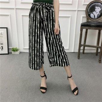 Women Wide Leg Harem Pants Female bell-bottomed Pant Elastic WaistLoose Trousers - intl - 4
