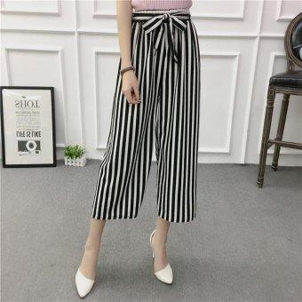 Women Wide Leg Harem Pants Female bell-bottomed Pant Elastic WaistLoose Trousers - intl - 3