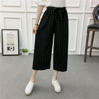 Women Wide Leg Harem Pants Female bell-bottomed Pant Elastic WaistLoose Trousers - intl