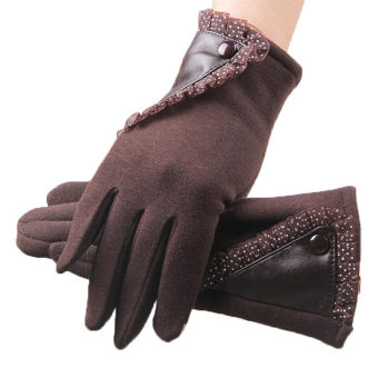 Women Winter Gloves New Touch Screen Thermal Mittens Female OutdoorThick Fleece Warm Gloves (Brown) - intl