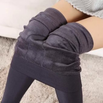 Women Winter Stretchy Leggings Warm Fleece Lined Tights Pants (Grey) - intl - 2